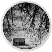 Past The Woods Round Beach Towel