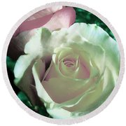 Pastel Pink And White Rose Round Beach Towel