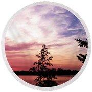 Pastel Pink Sunset Round Beach Towel