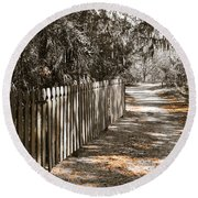 Path Along The Fence Round Beach Towel