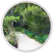 Path Into The Green Round Beach Towel