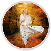 Path Of Fall Round Beach Towel by Karen Koski