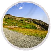 Path To Cabot Tower On Signal Hill Round Beach Towel by Elena Elisseeva