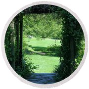 Path To The Green Round Beach Towel