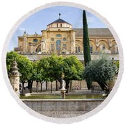 Patio De Los Naranjos At Mezquita In Cordoba Round Beach Towel