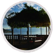 Patio In Backlight Round Beach Towel