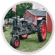 Patriotic Farmall Round Beach Towel