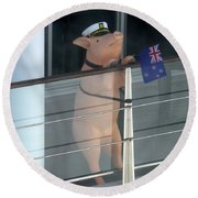 Patriotic Pig Round Beach Towel
