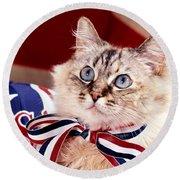 Patriotic Puddy Cat Round Beach Towel