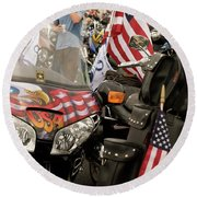 Patriotism Rides Round Beach Towel