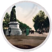 Paul Riquet Statue And The Allees In Beziers - France Round Beach Towel