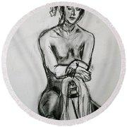 Paula - Charcoal Life Drawing Round Beach Towel