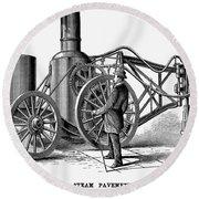 Paving Machine, 1879 Round Beach Towel