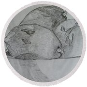 Paw-paw In Wooden Bowl Round Beach Towel