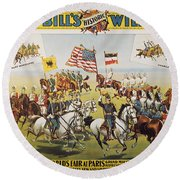 Pawnee Bill Poster, 1895 Round Beach Towel