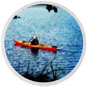 Peaceful Canoe Ride Ll Round Beach Towel