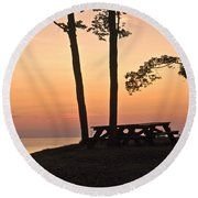Peaceful Evening Picnic 7109 Round Beach Towel
