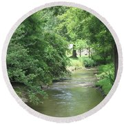 Peaceful Mountain Stream Round Beach Towel