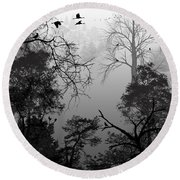 Peaceful Shades Of Gray Round Beach Towel
