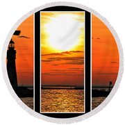 Peaceful Sunset Triptych Series Round Beach Towel