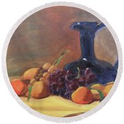 Peaches And Blue Pitcher Round Beach Towel