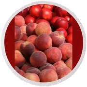 Peaches And Nectarines Round Beach Towel