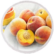 Peaches On Plate Round Beach Towel