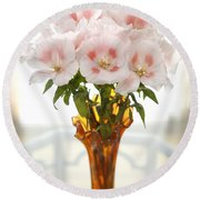 Peachy Gladiolas Round Beach Towel