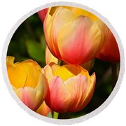 Peachy Tulips Round Beach Towel