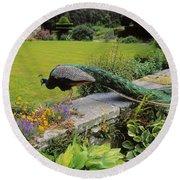 Peacock In Formal Garden, Kilmokea, Co Round Beach Towel