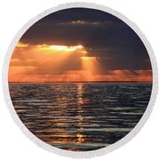 Peaking Through The Clouds Round Beach Towel