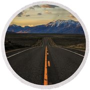 Peaks To Craters Highway Round Beach Towel by Benjamin Yeager