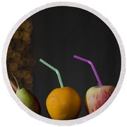Pear And Apple And Orange Round Beach Towel