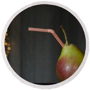 Pear With Straw Round Beach Towel
