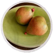 Pears On Heart Plate Round Beach Towel