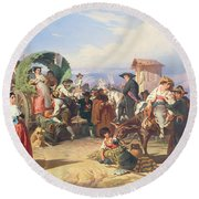 Peasants Of The Campagna Round Beach Towel