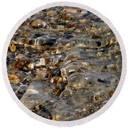 Pebbles And Shells By The Sea Shore Round Beach Towel