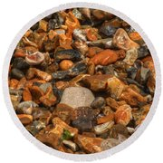 Pebbles And Stones On The Beach Round Beach Towel