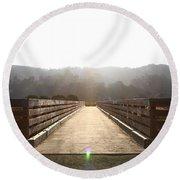Pedestrian Bridge At Martinez Regional Shoreline Park In Martinez California . 7d10534 Round Beach Towel