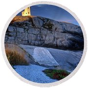 Peggys Cove Lighthouse Nova Scotia Round Beach Towel