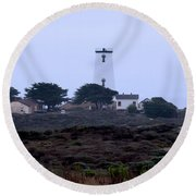 Peidras Blancas Lighthouse Round Beach Towel