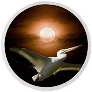 Pelican Moon Round Beach Towel