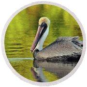 Pelican On A Golden Pond Round Beach Towel