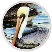 Pelican Pete Round Beach Towel by Karen Wiles