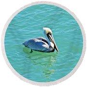 Pelican Portrait Round Beach Towel