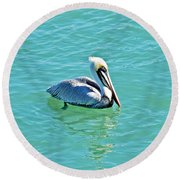 Pelican Portrait Round Beach Towel