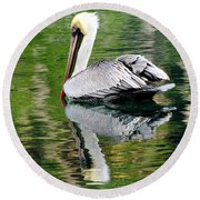 Pelican Reflecting Round Beach Towel