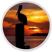 Pelican Sundown Round Beach Towel by Karen Wiles