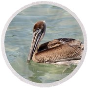 Pelican Waiting For A Catch Round Beach Towel