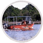 Pelicans Following Boat Round Beach Towel
